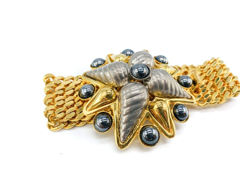 Celine 1990s Vintage Bracelet   A timeless piece from the House of Dior, still on of the most coveted designers in the world. A delicate piece with classic Dior 80s subtle glamour.  Detail -Made in Italy in 1990 -Cast from gold plated metal in a