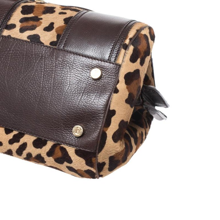 Celine Brown/Beige Leopard Print Calfhair and Leather Satchel For Sale 5