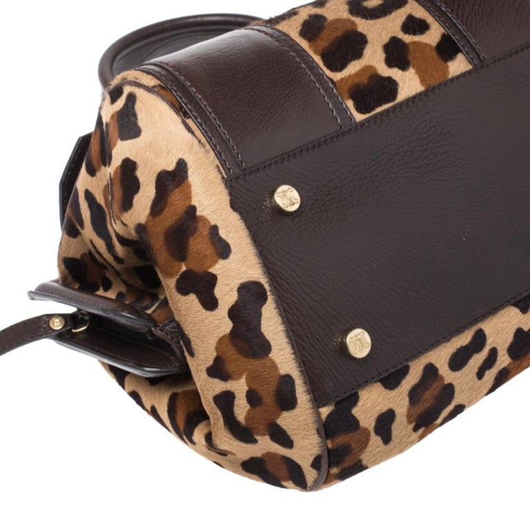 Celine Brown/Beige Leopard Print Calfhair and Leather Satchel For Sale 6