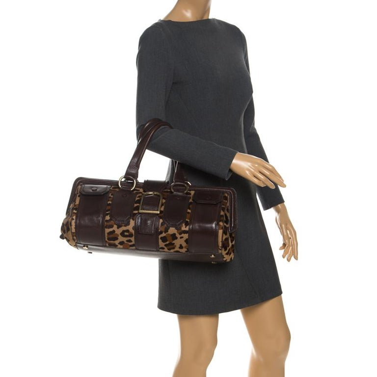 Black Celine Brown/Beige Leopard Print Calfhair and Leather Satchel For Sale