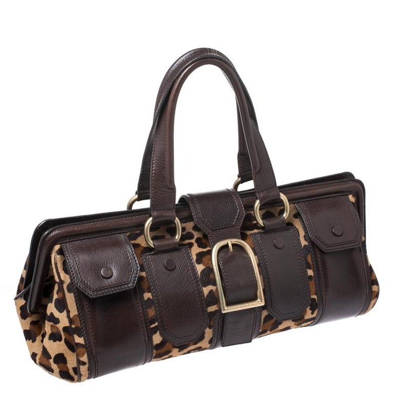 Celine Brown/Beige Leopard Print Calfhair and Leather Satchel For Sale 3