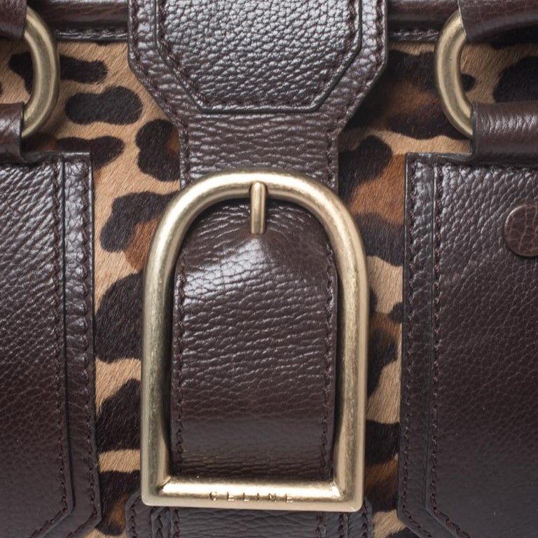 Celine Brown/Beige Leopard Print Calfhair and Leather Satchel For Sale 4
