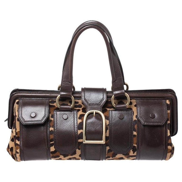 Celine Brown/Beige Leopard Print Calfhair and Leather Satchel For Sale