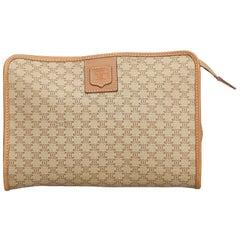 Celine Brown Beige PVC Plastic Macadam Clutch Bag Italy