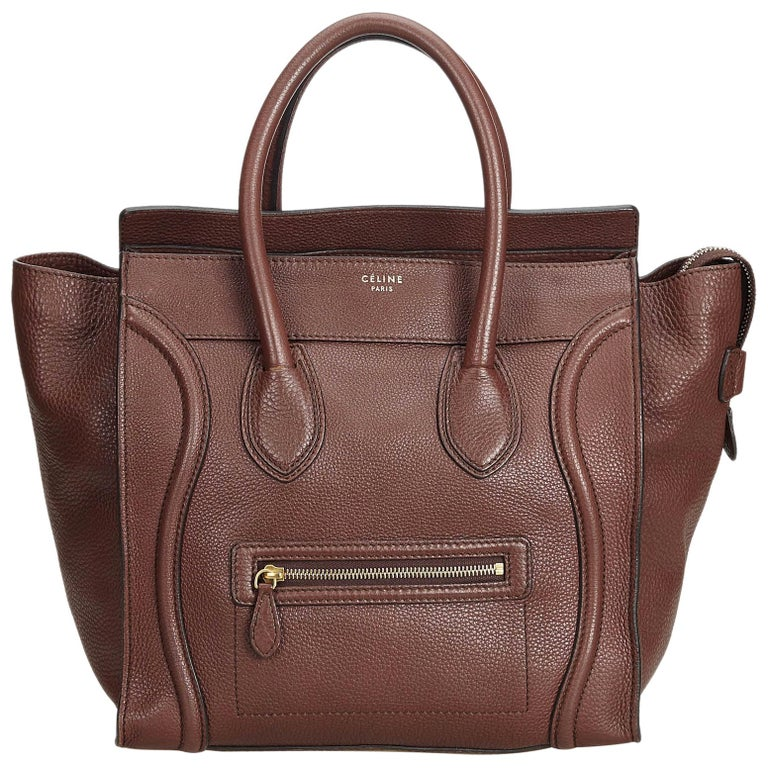 59b91bc1cf0a8 Celine Brown Calf Leather Luggage Tote Bag France w/ Dust Bag at 1stdibs