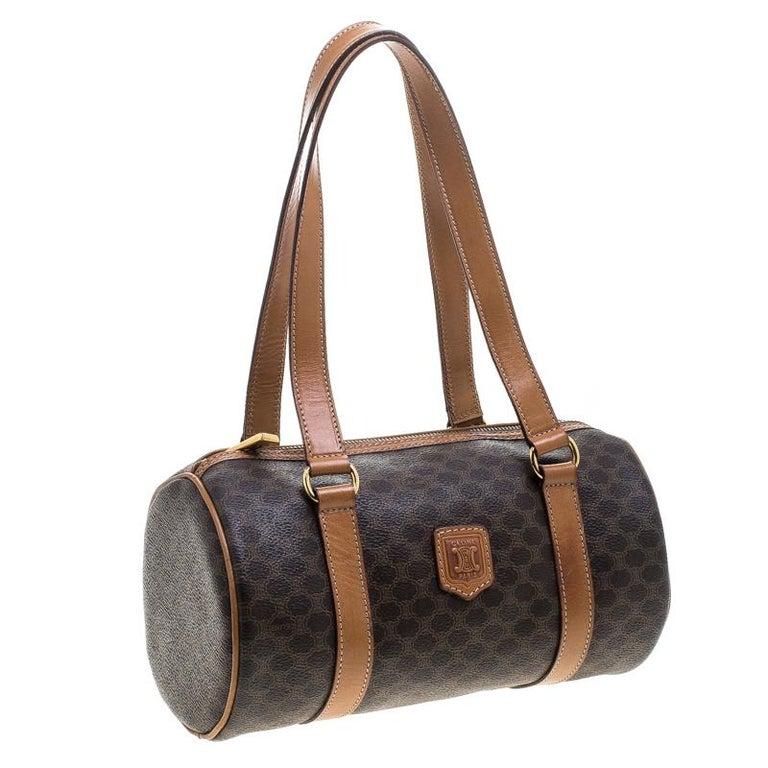 ef9ac2153ea4 Céline Brown Coated Canvas Macadam Boston Bag In Good Condition For Sale In  Dubai