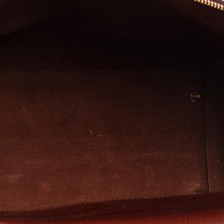 Celine Brown Croc Embossed Leather Mini Belt Bag For Sale 6