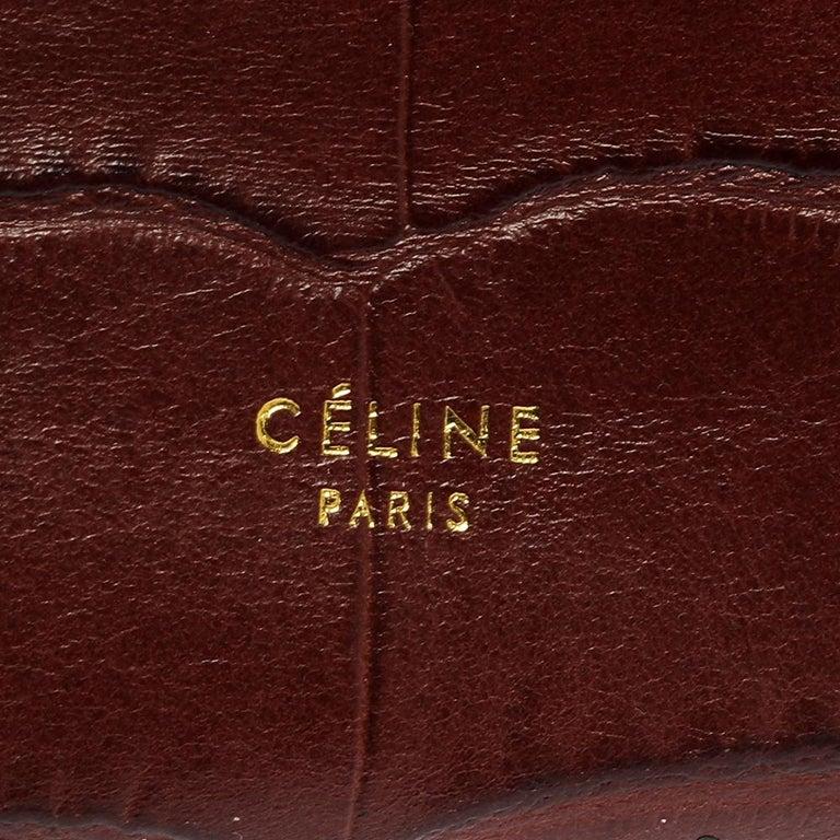 Celine Brown Croc Embossed Leather Mini Belt Bag For Sale 7