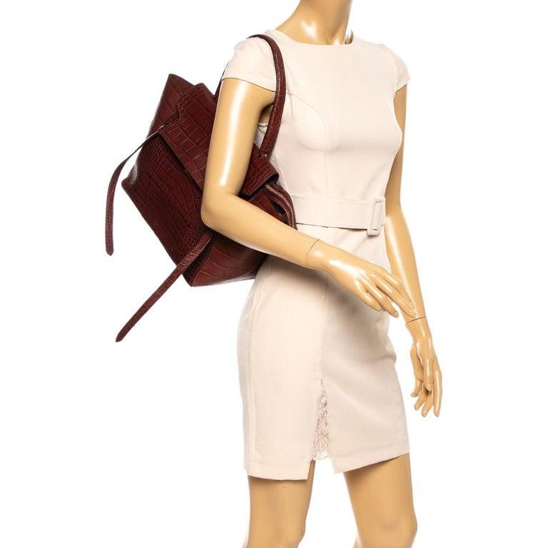 Celine Brown Croc Embossed Leather Mini Belt Bag In Fair Condition For Sale In Dubai, Al Qouz 2