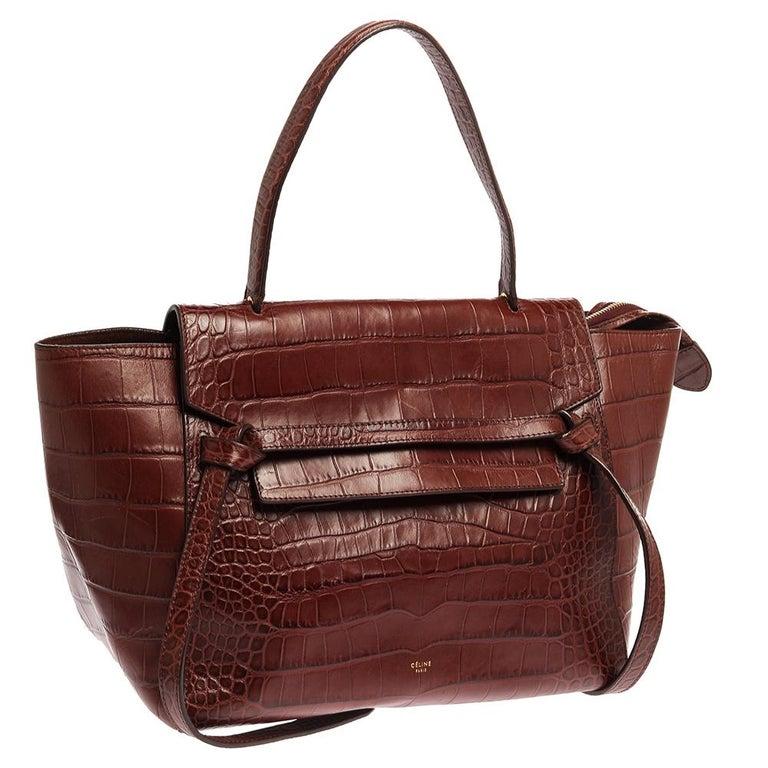 Women's Celine Brown Croc Embossed Leather Mini Belt Bag For Sale