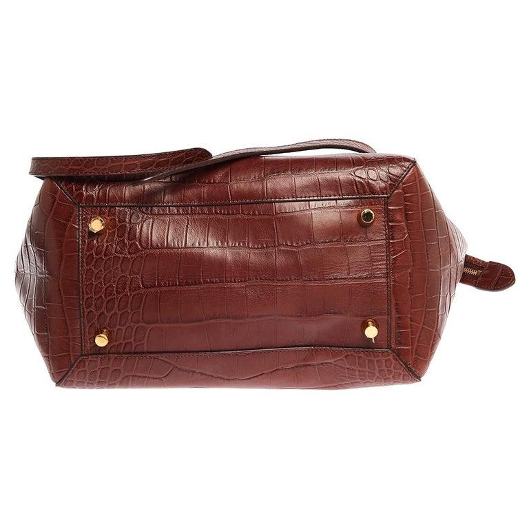 Celine Brown Croc Embossed Leather Mini Belt Bag For Sale 1