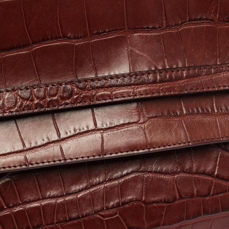 Celine Brown Croc Embossed Leather Mini Belt Bag For Sale 2