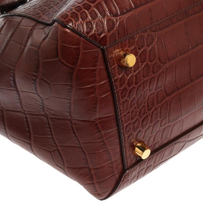 Celine Brown Croc Embossed Leather Mini Belt Bag For Sale 3