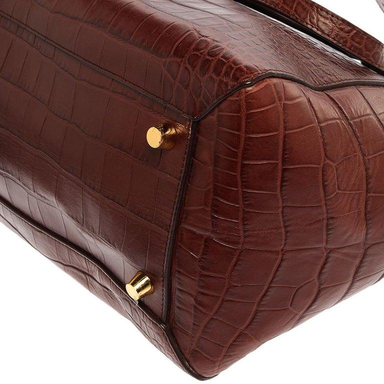 Celine Brown Croc Embossed Leather Mini Belt Bag For Sale 4