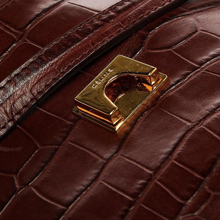 Celine Brown Croc Embossed Leather Mini Belt Bag For Sale 5