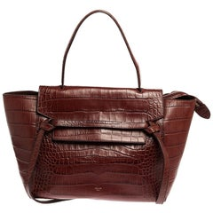 Celine Brown Croc Embossed Leather Mini Belt Bag