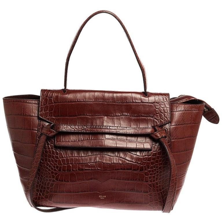 Celine Brown Croc Embossed Leather Mini Belt Bag For Sale