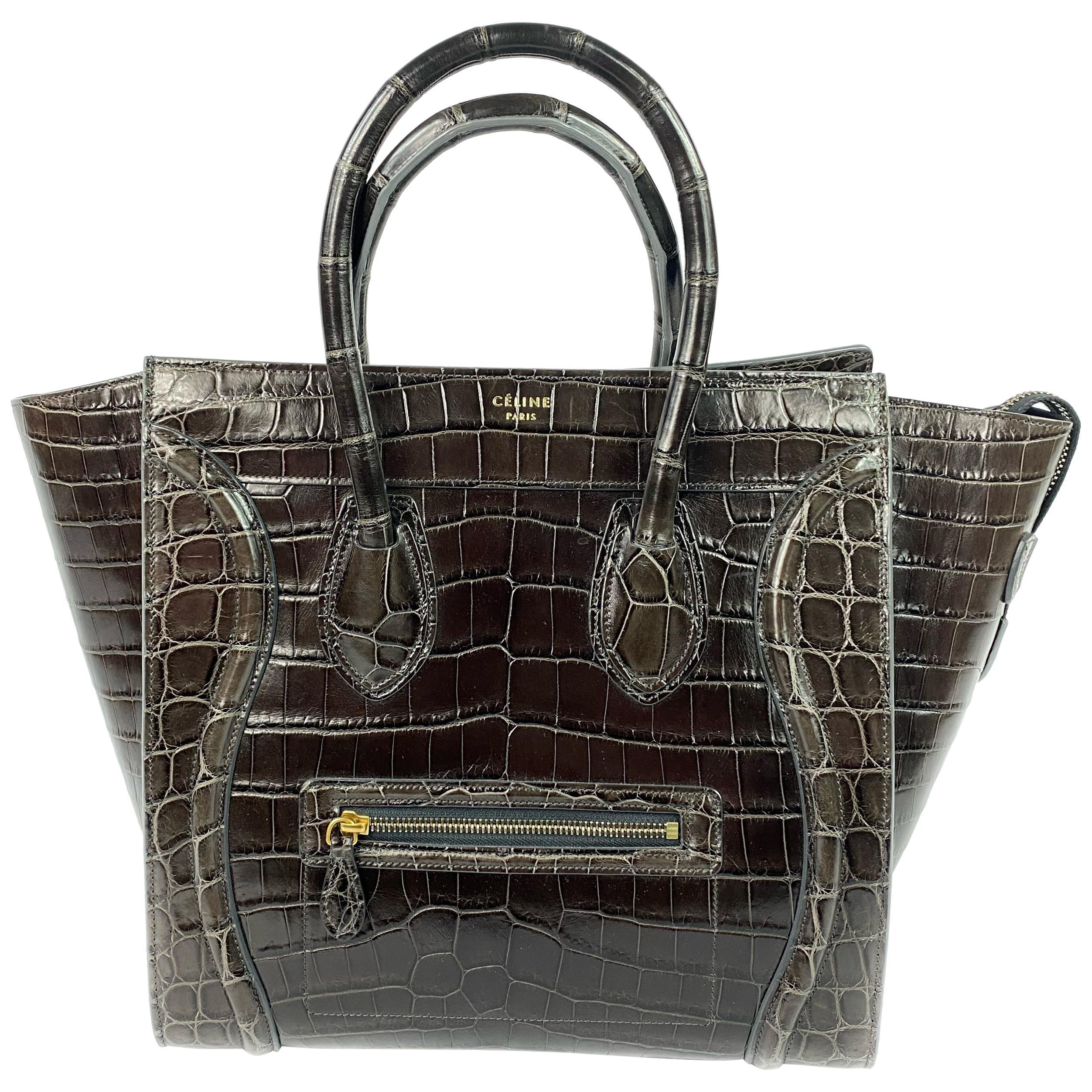 CELINE Brown Crocodile Medium Phantom Luggage Tote Bag