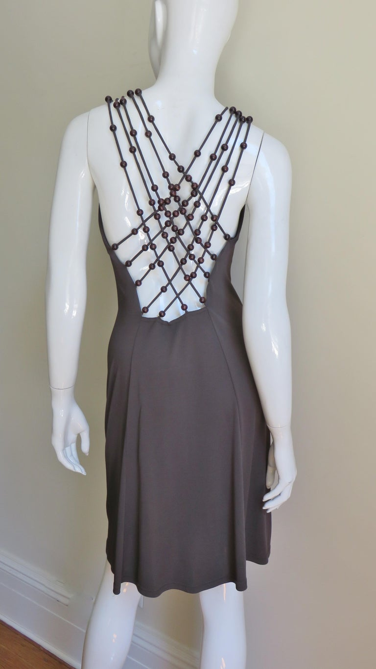 Women's Celine Brown Cut out Back Dress with Bead Trim For Sale