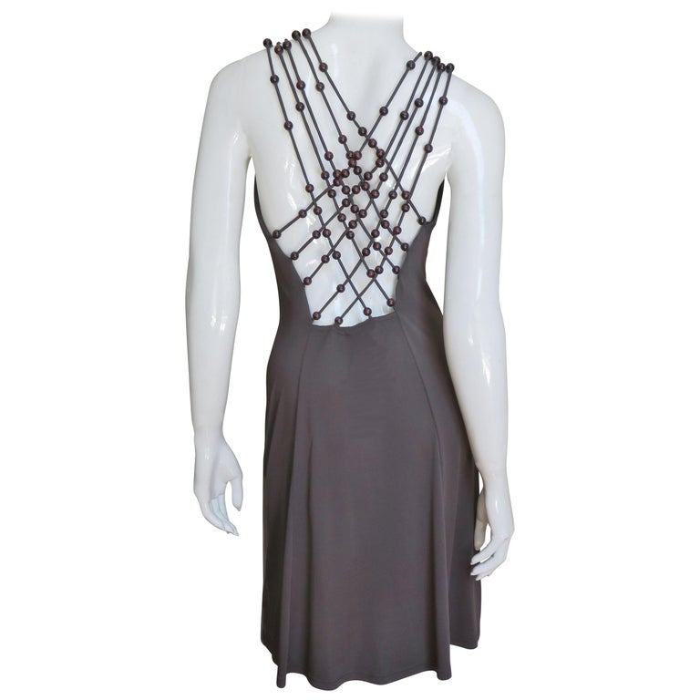 Celine Brown Cut out Back Dress with Bead Trim For Sale
