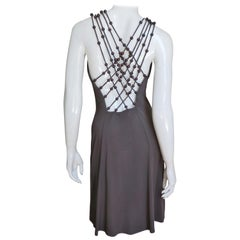 Celine Brown Cut out Back Dress with Bead Trim