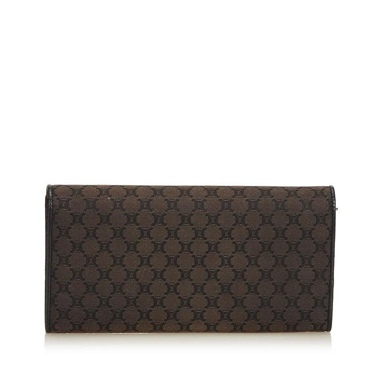 Black Celine Brown Dark Brown Jacquard Fabric Macadam Long Wallet France For Sale