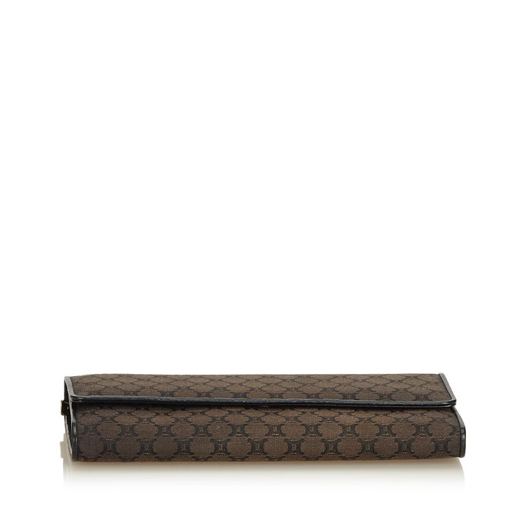 Celine Brown Dark Brown Jacquard Fabric Macadam Long Wallet France In Good Condition For Sale In Orlando, FL