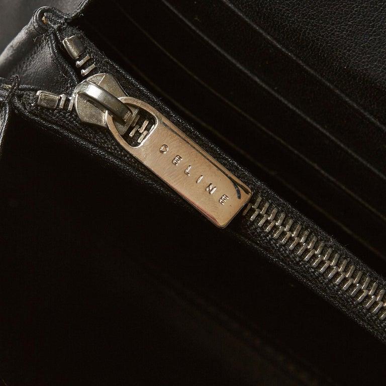 Celine Brown Dark Brown Jacquard Fabric Macadam Long Wallet France For Sale 3