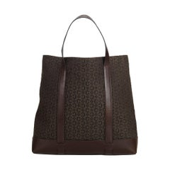 Celine Brown Dark Brown Jacquard Fabric Tote Bag France w/ Dust Bag