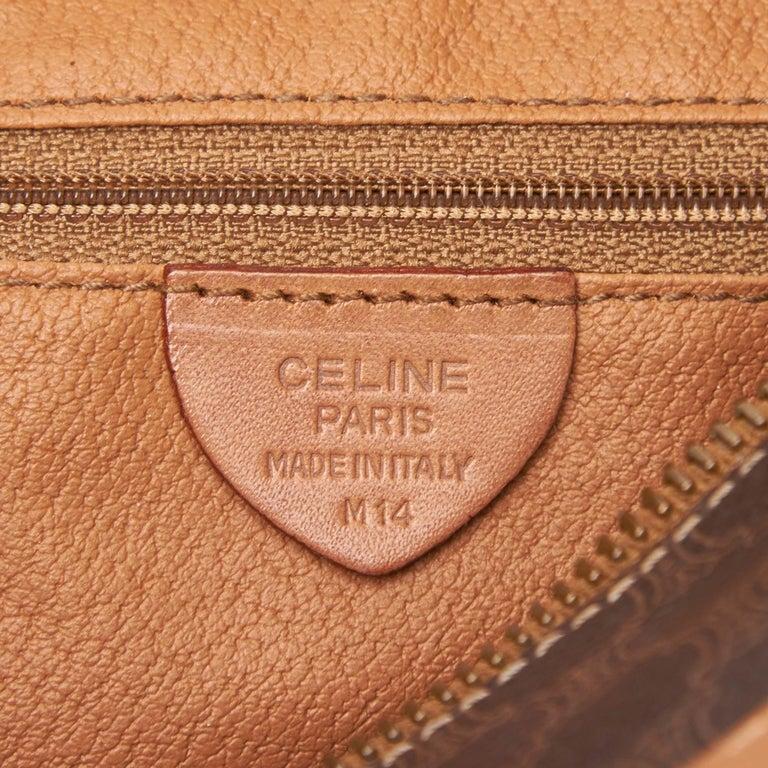 Celine Brown Dark Brown Pvc Plastic Macadam Shoulder Bag France At 1stdibs