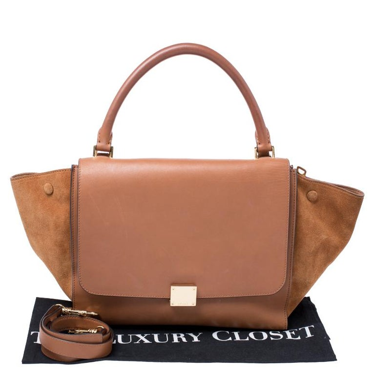 Celine Brown Leather and Suede Medium Trapeze Tote 7