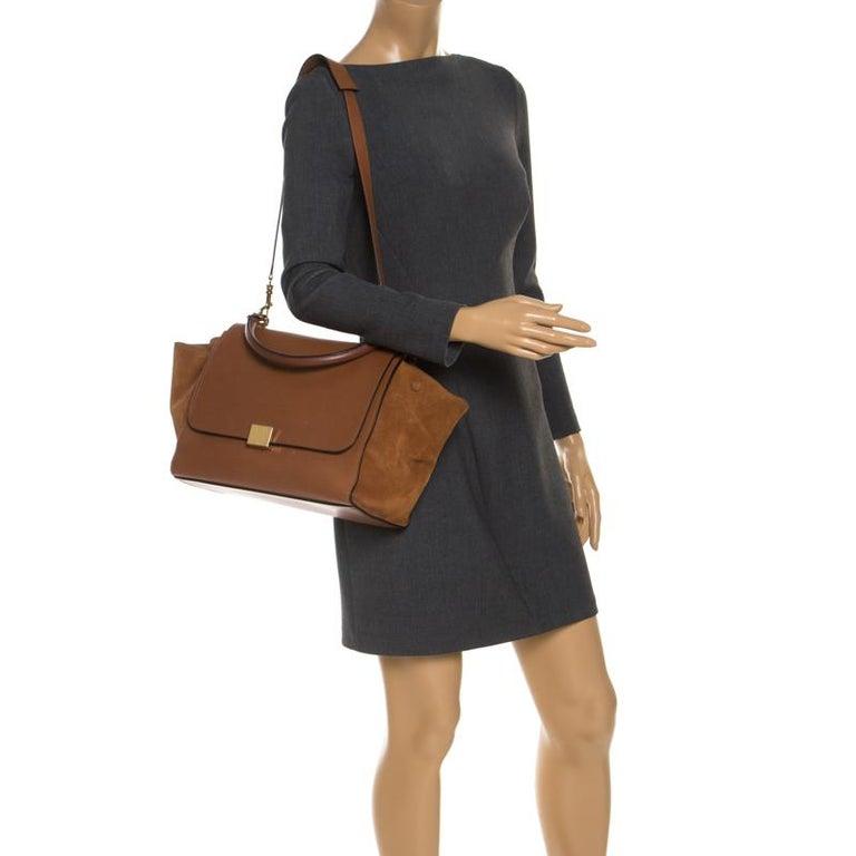 Celine Brown Leather and Suede Medium Trapeze Tote In Good Condition In Dubai, Al Qouz 2