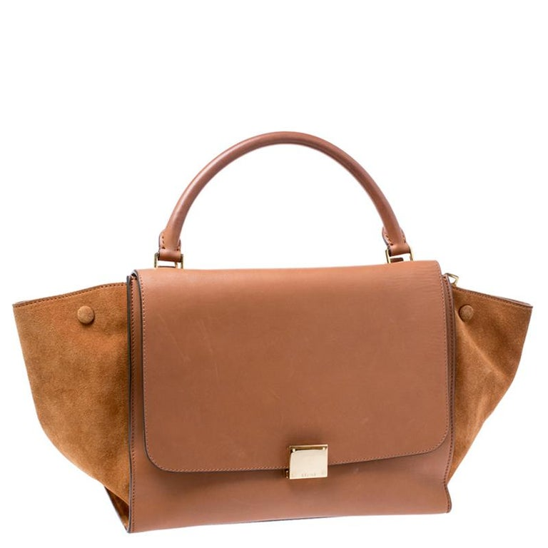Women's Celine Brown Leather and Suede Medium Trapeze Tote