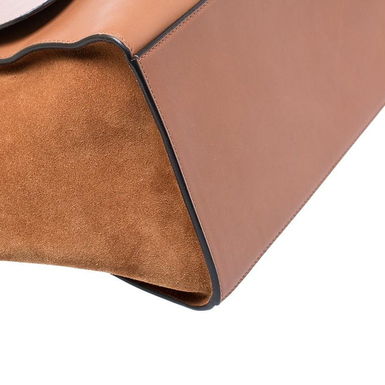 Celine Brown Leather and Suede Medium Trapeze Tote 2