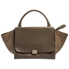 Celine Brown Leather and Suede Medium Trapeze Tote