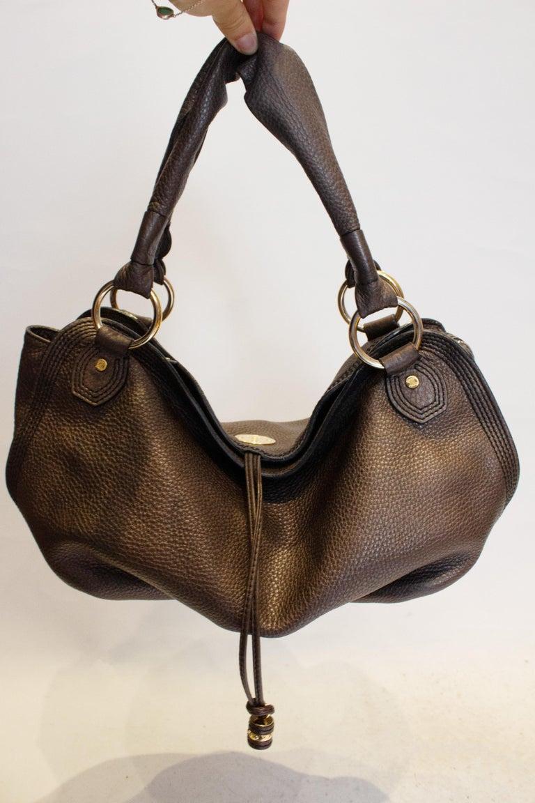 Black Celine Brown Leather Bag For Sale