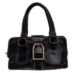 Celine Brown Leather Buckle Satchel