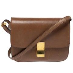 Celine Brown Leather Medium Classic Box Shoulder Bag