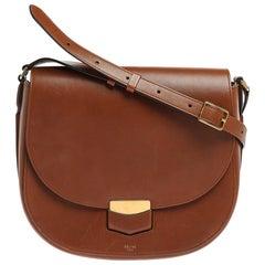 Celine Brown Leather Medium Trotteur Shoulder Bag