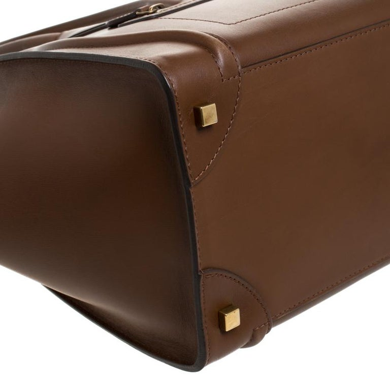 Celine Brown Leather Mini Luggage Tote For Sale 6