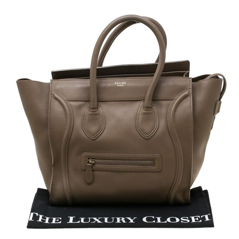 Celine Brown Leather Mini Luggage Tote For Sale 9