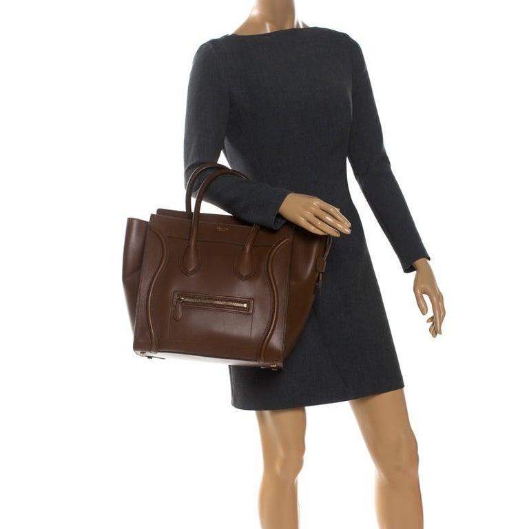 Celine Brown Leather Mini Luggage Tote In Good Condition For Sale In Dubai, Al Qouz 2