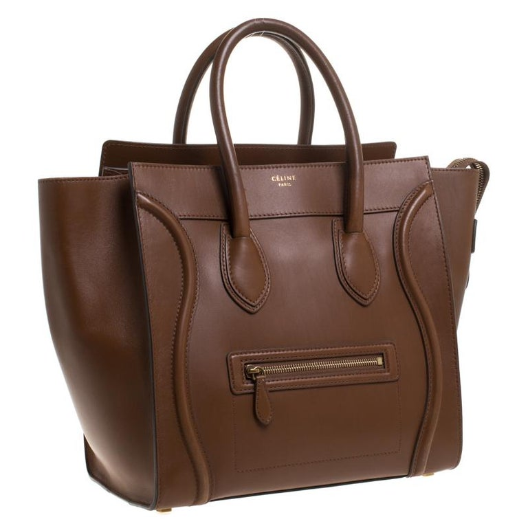 Women's Celine Brown Leather Mini Luggage Tote For Sale