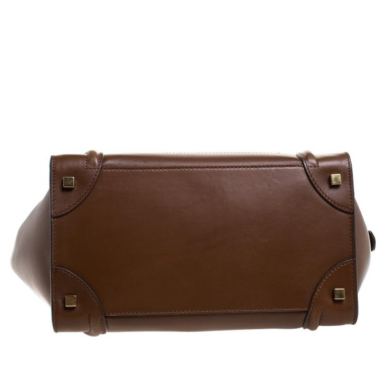 Celine Brown Leather Mini Luggage Tote For Sale 1
