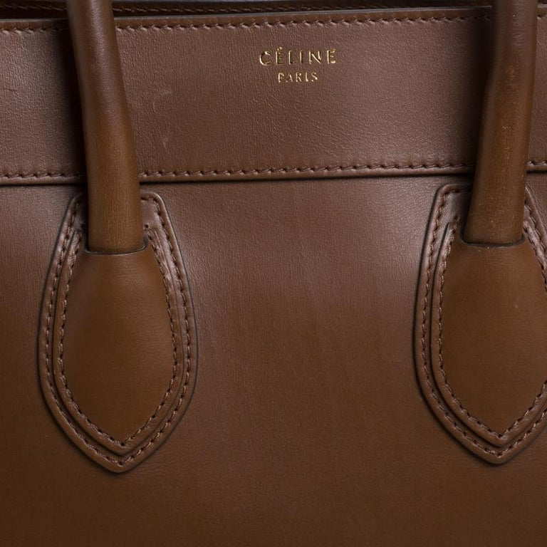 Celine Brown Leather Mini Luggage Tote For Sale 2
