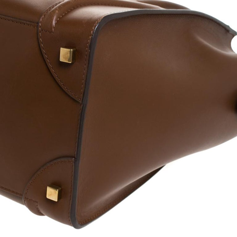 Celine Brown Leather Mini Luggage Tote For Sale 4