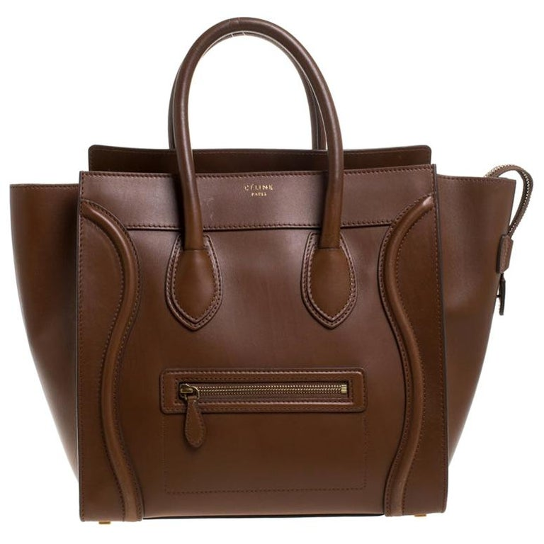 Celine Brown Leather Mini Luggage Tote For Sale