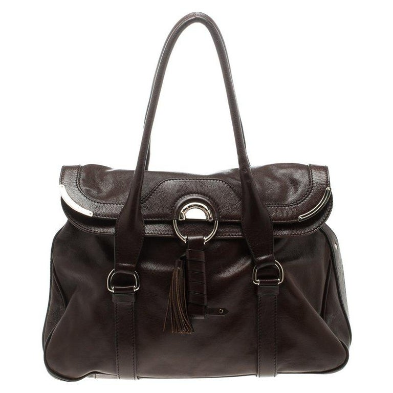 eb64e3b57cd6 Céline Brown Leather Tassel Satchel For Sale. Handbags ...