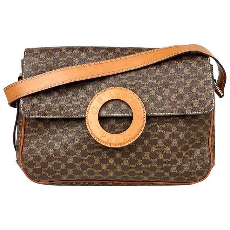 Celine Brown Macadam Celine Crossbody Bag For Sale
