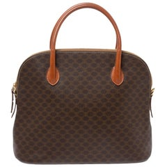 Celine Brown Macadam Coated Canvas and Leather Satchel